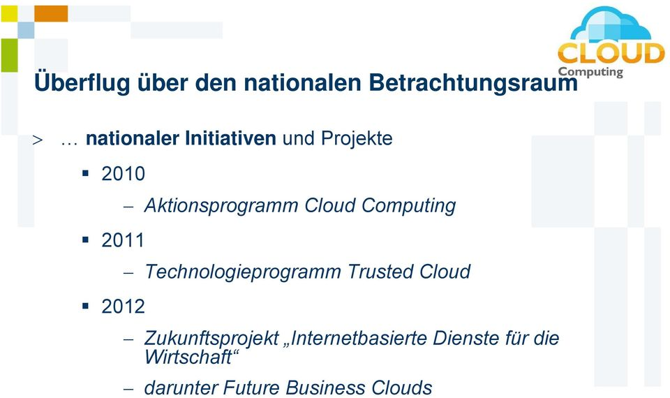 Computing Technologieprogramm Trusted Cloud Zukunftsprojekt