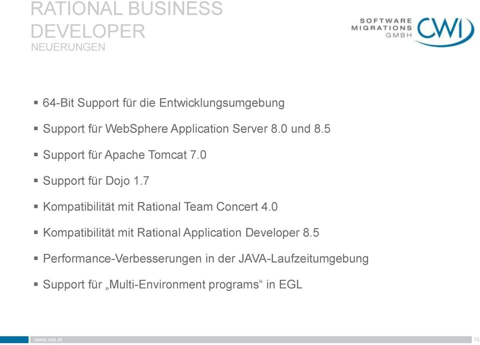 7 Kompatibilität mit Rational Team Concert 4.0 Kompatibilität mit Rational Application Developer 8.