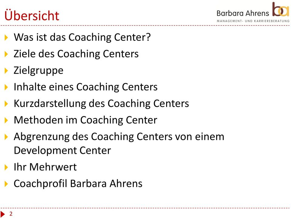 Kurzdarstellung des Coaching Centers Methoden im Coaching Center