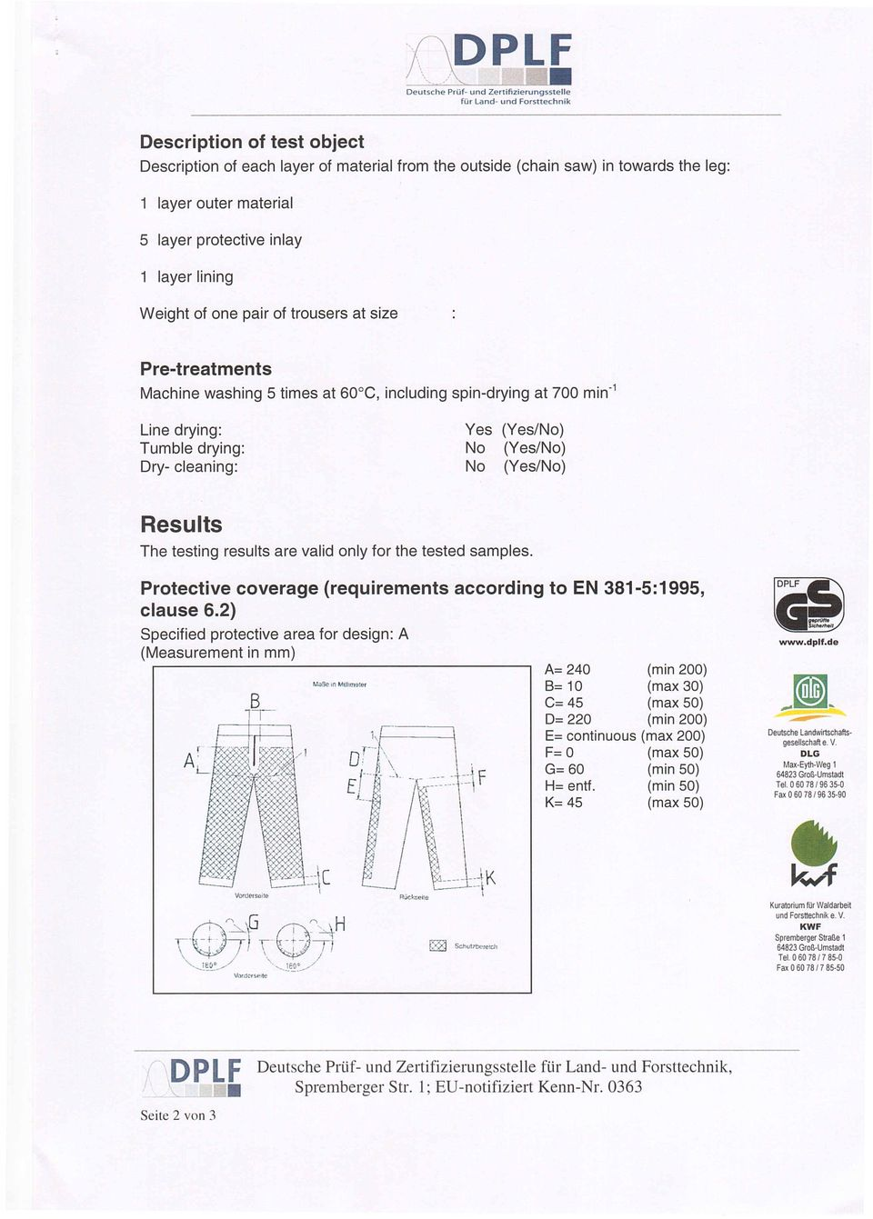 Dry cleaning: Yes No No (Yes/No) (Yes/No) (Yes/No) Results The testing results are valid only for the tested samples. Protective coverage (requirements according to EN 3815:1995, clause 6.