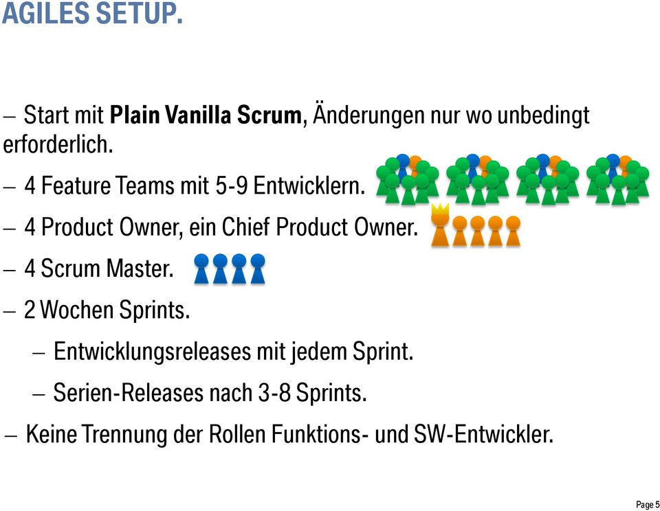 4 Feature Teams mit 5-9 Entwicklern. 4 Product Owner, ein Chief Product Owner.