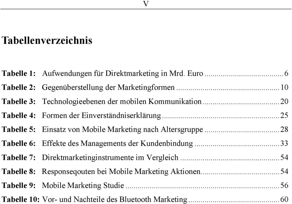 ..25 Tabelle 5: Einsatz von Mobile Marketing nach Altersgruppe...28 Tabelle 6: Effekte des Managements der Kundenbindung.