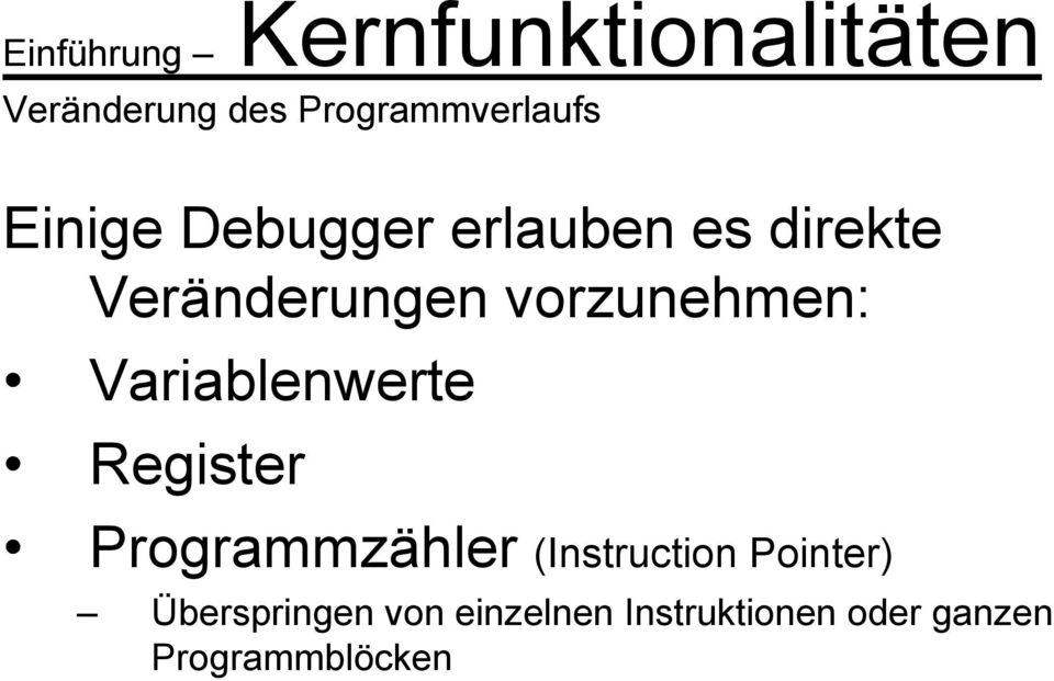 Variablenwerte Register Programmzähler (Instruction Pointer)
