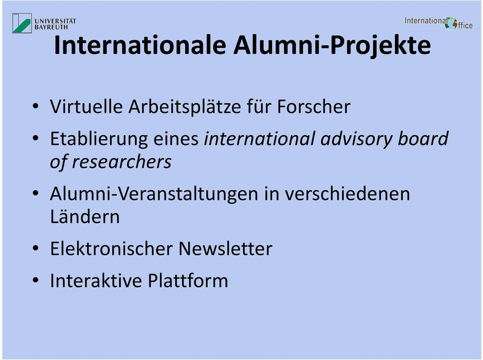 board of researchers Alumni-Veranstaltungen in