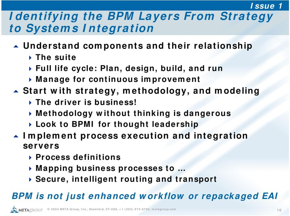 Methodology without thinking is dangerous Look to BPMI for thought leadership Implement process execution and integration servers Process