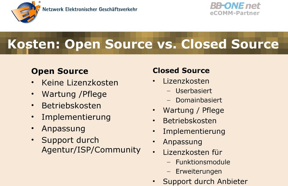 Implementierung Anpassung Support durch Agentur/ISP/Community Closed Source