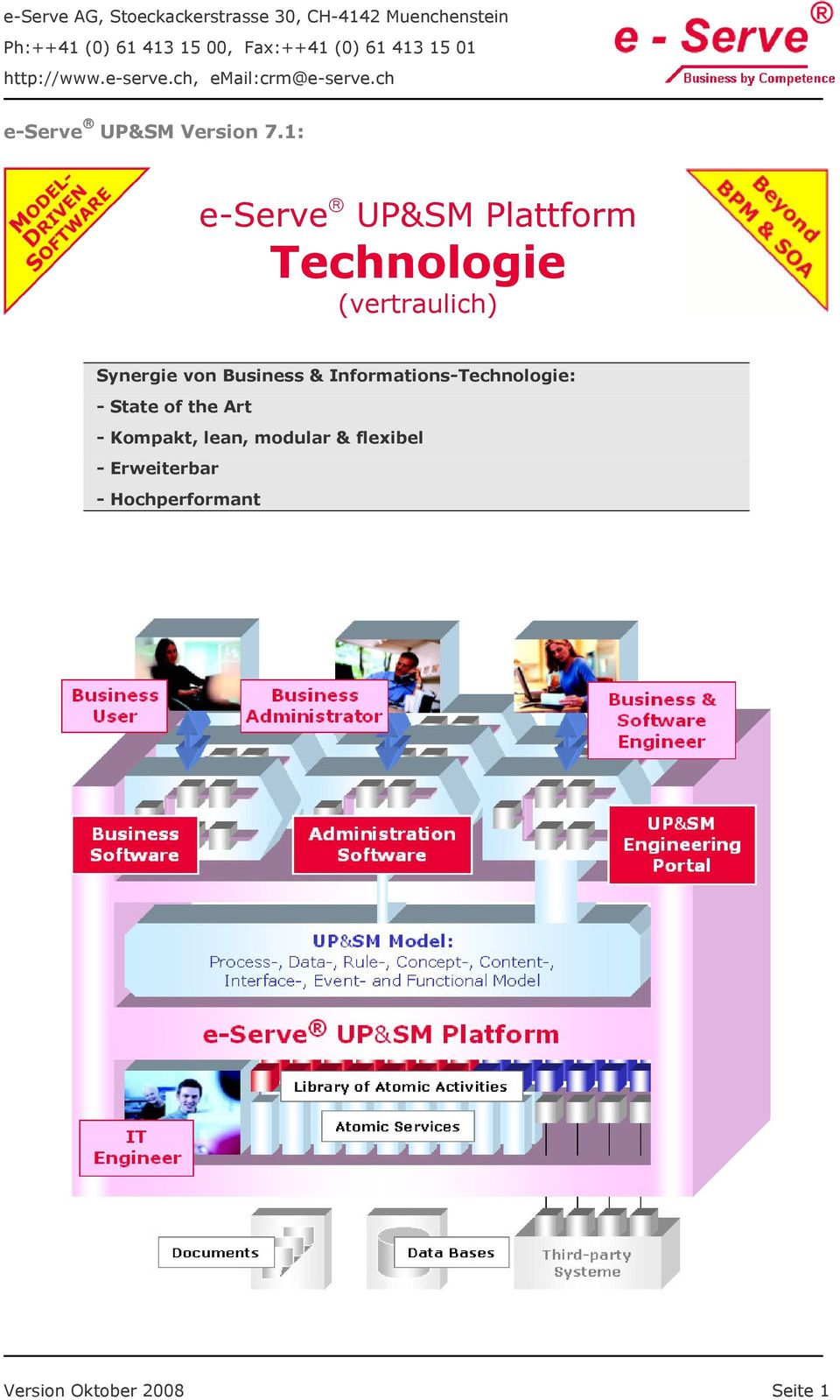 1: e-serve UP&SM Plattform Technologie (vertraulich) Synergie von Business &