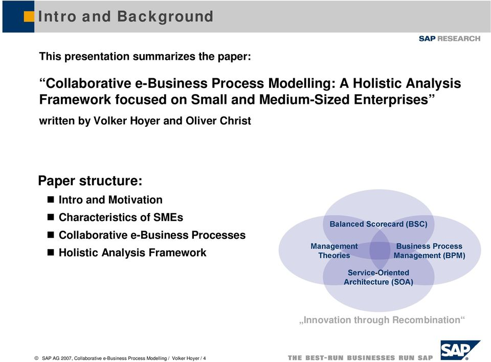 Christ Paper structure: Intro and Motivation Characteristics of SMEs Collaborative e-business Processes Holistic