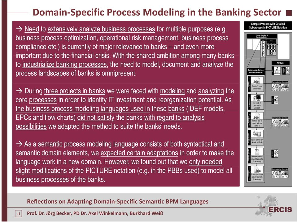 With the shared ambition among many banks to industrialize banking processes, the need to model, document and analyze the process landscapes of banks is omnipresent.