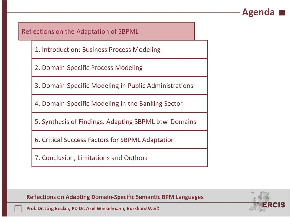 Domain Specific Modeling in the Banking Sector 5. Synthesis of Findings: Adapting SBPML btw.