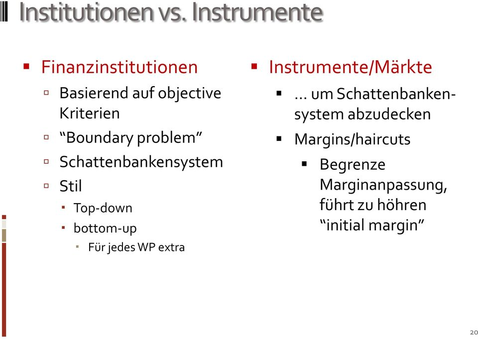 Boundary problem Schattenbankensystem Stil Top-down bottom-up Für jedes