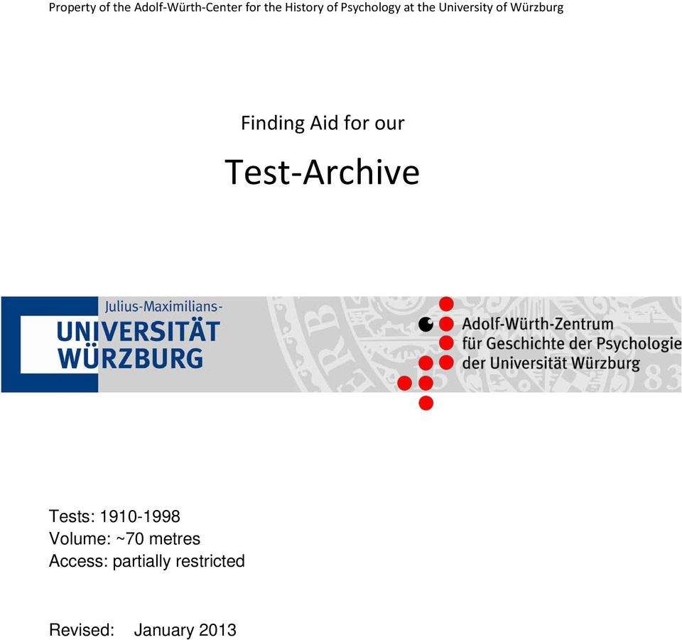 for our Test-Archive Tests: 1910-1998 Volume: ~70