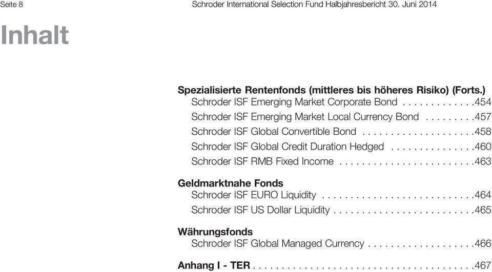 ...................458 Global Credit Duration Hedged...............460 RMB Fixed Income........................463 Geldmarktnahe Fonds EURO Liquidity.