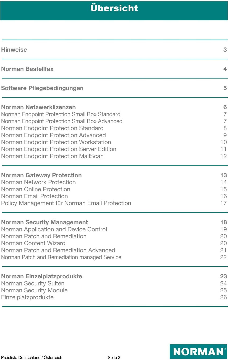 Norman Gateway Protection 13 Norman Network Protection 14 Norman Online Protection 15 Norman Email Protection 16 Policy Management für Norman Email Protection 17 Norman Security Management 18 Norman