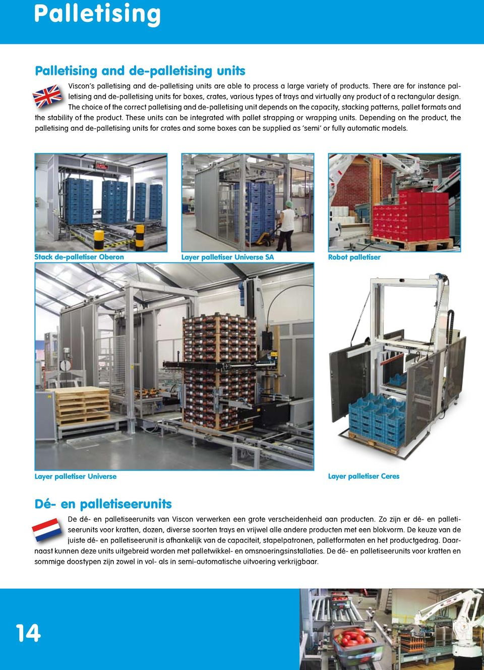 The choice of the correct palletising and de-palletising unit depends on the capacity, stacking patterns, pallet formats and the stability of the product.