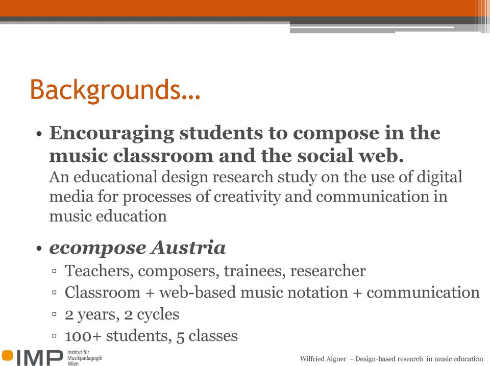 and communication in music education ecompose Austria Teachers, composers, trainees,