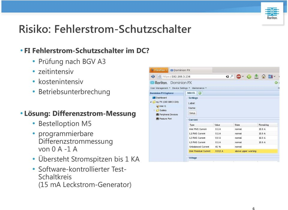 Differenzstrom-Messung Bestelloption M5 programmierbare Differenzstrommessung von 0 A