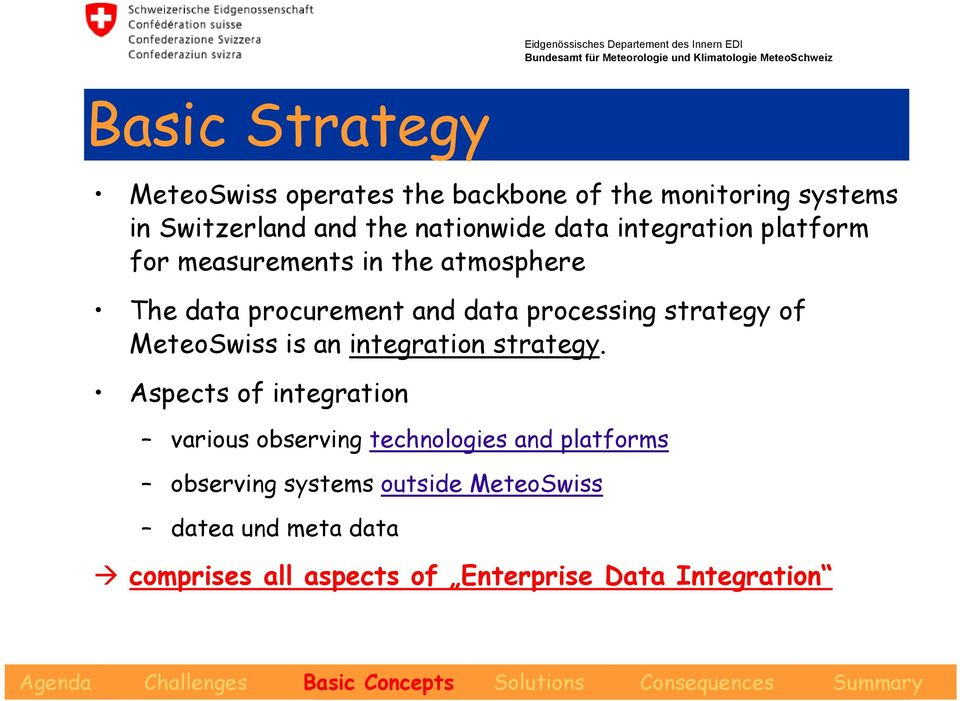 strategy of MeteoSwiss is an integration strategy.