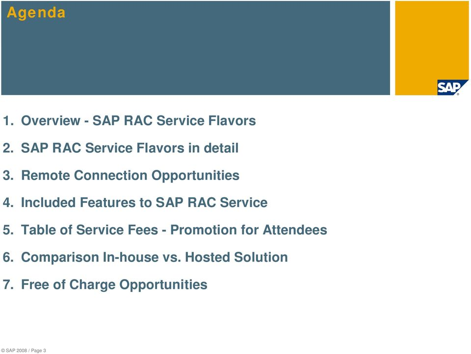 Included Features to SAP RAC Service 5.