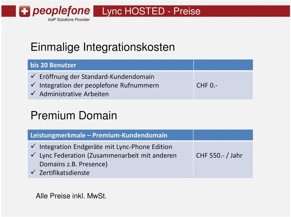 - Premium Domain Leistungmerkmale Premium-Kundendomain Integration Endgeräte mit Lync-Phone