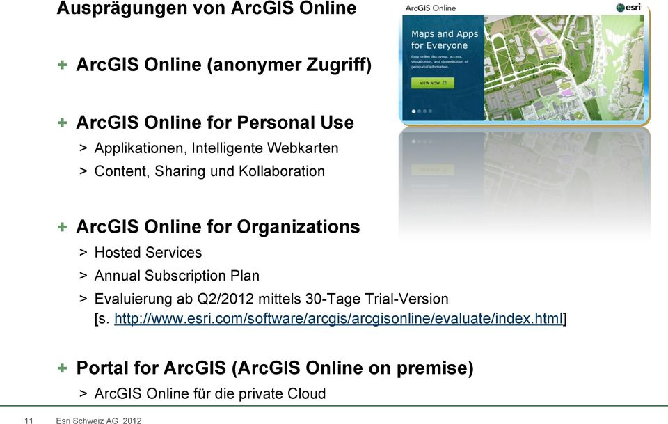 Annual Subscription Plan > Evaluierung ab Q2/2012 mittels 30-Tage Trial-Version [s. http://www.esri.