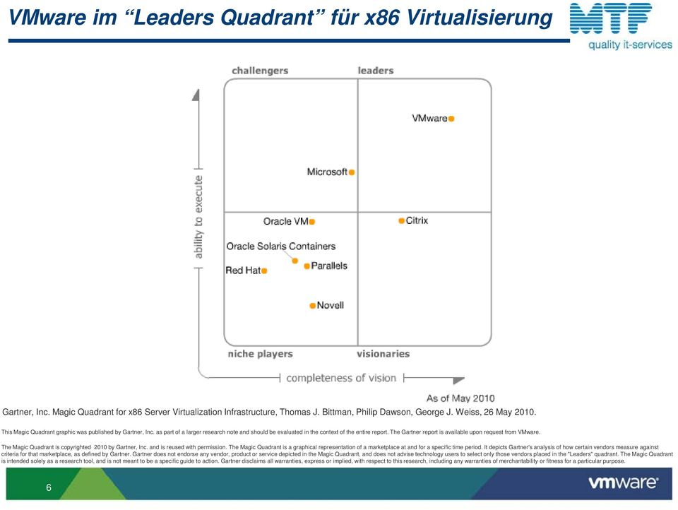 The Gartner report is available upon request from VMware. The Magic Quadrant is copyrighted 2010 by Gartner, Inc. and is reused with permission.