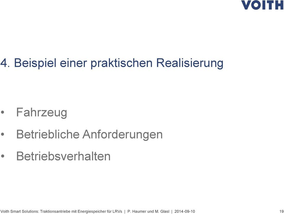 Betriebsverhalten Voith Smart Solutions: