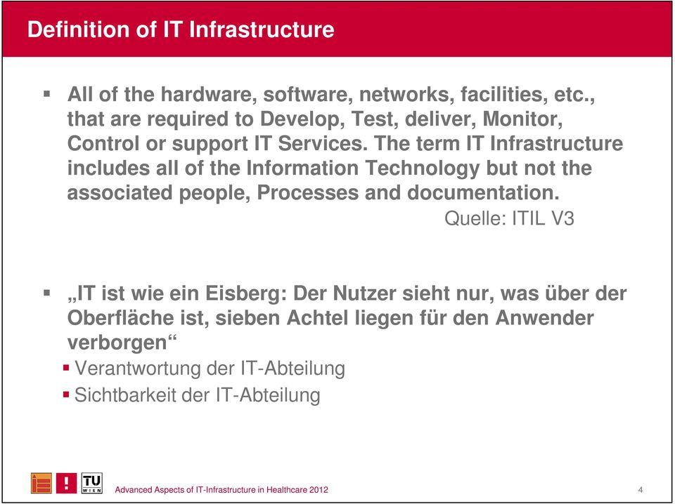 The term IT Infrastructure includes all of the Information Technology but not the associated people, Processes and