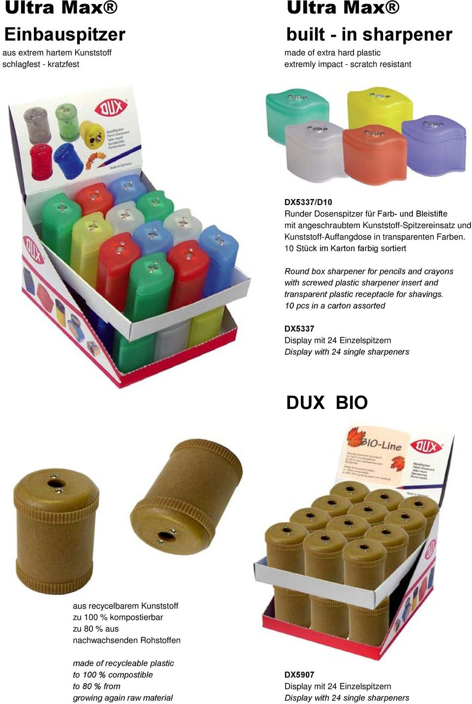 10 Stück im Karton farbig sortiert Round box sharpener for pencils and crayons with screwed plastic sharpener insert and transparent plastic receptacle for shavings.