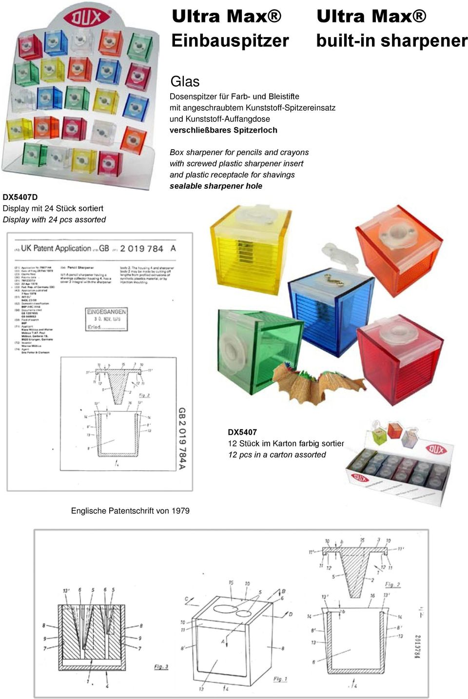 Display with 24 pcs assorted Box sharpener for pencils and crayons with screwed plastic sharpener insert and plastic