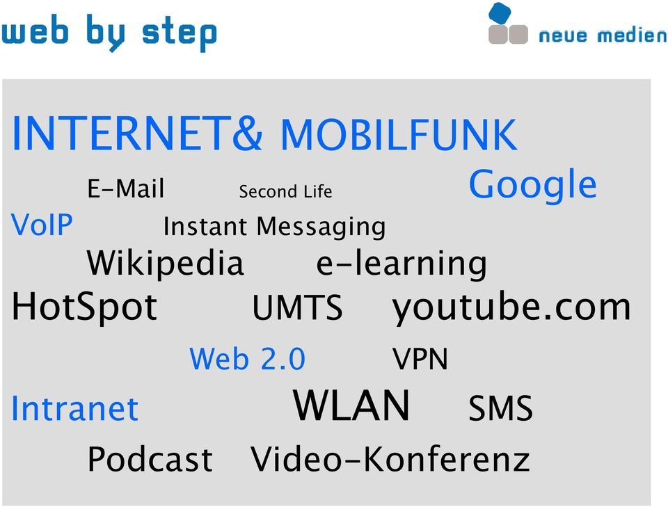 Messaging Wikipedia e learning UMTS