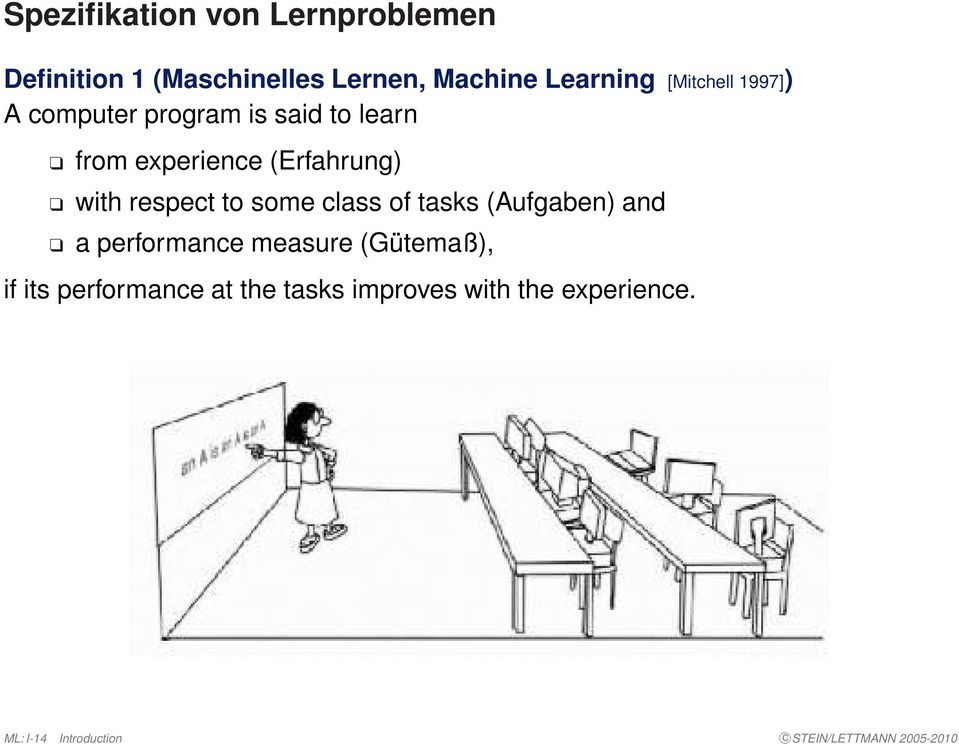 of tasks (Aufgaben) and a performance measure (Gütemaß), if its performance at