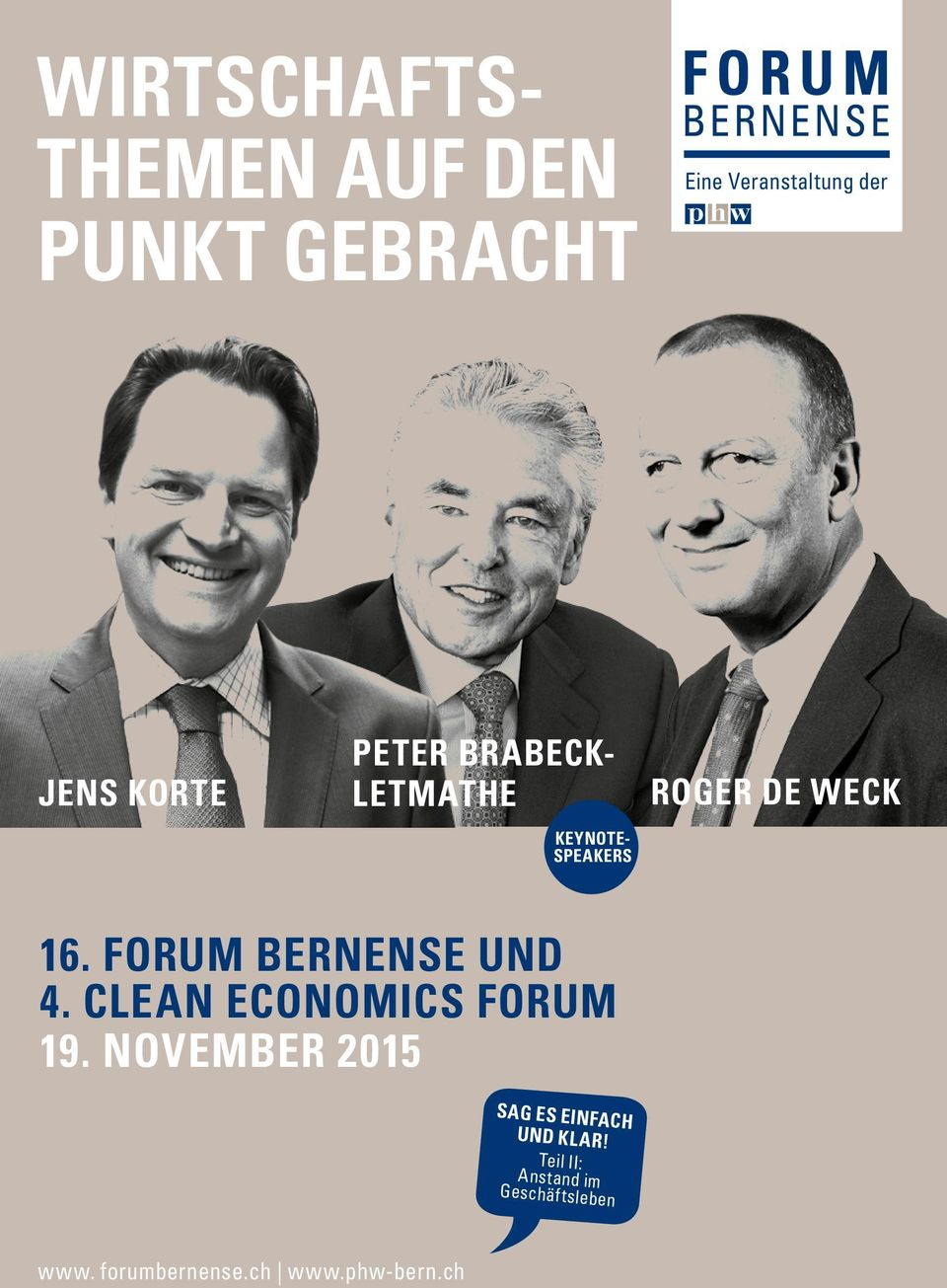 FORUM BERNENSE UND 4. CLEAN ECONOMICS FORUM 19.