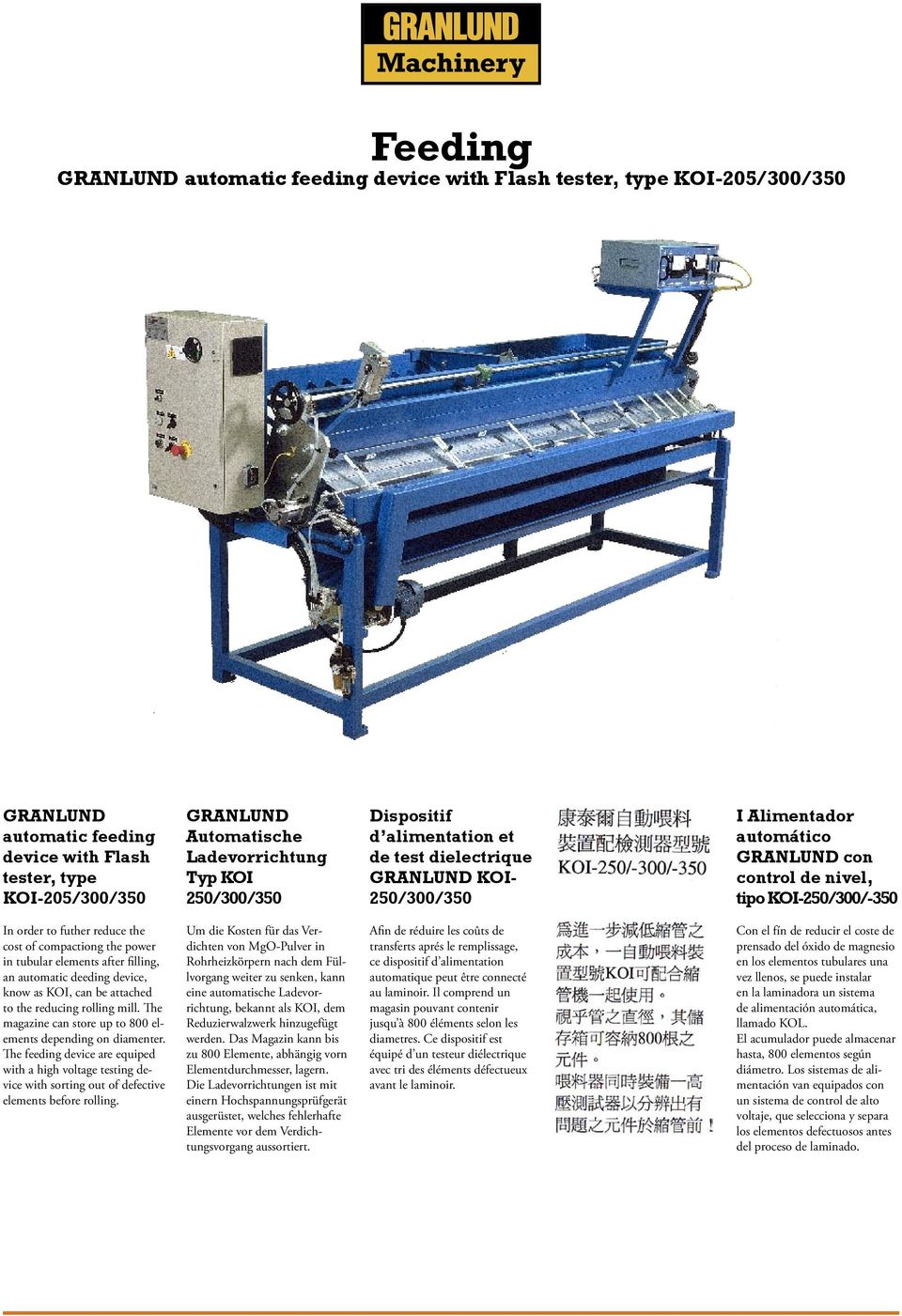 elements after filling, an automatic deeding device, know as KOI, can be attached to the reducing rolling mill. The magazine can store up to 800 elements depending on diamenter.