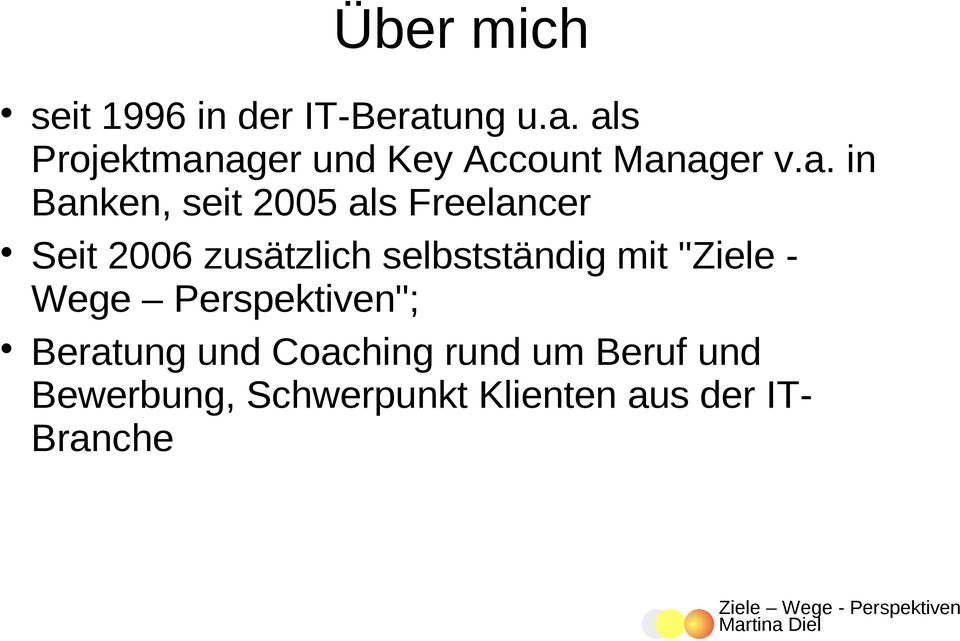 als Projektmanager und Key Account Manager v.a. in Banken, seit 2005