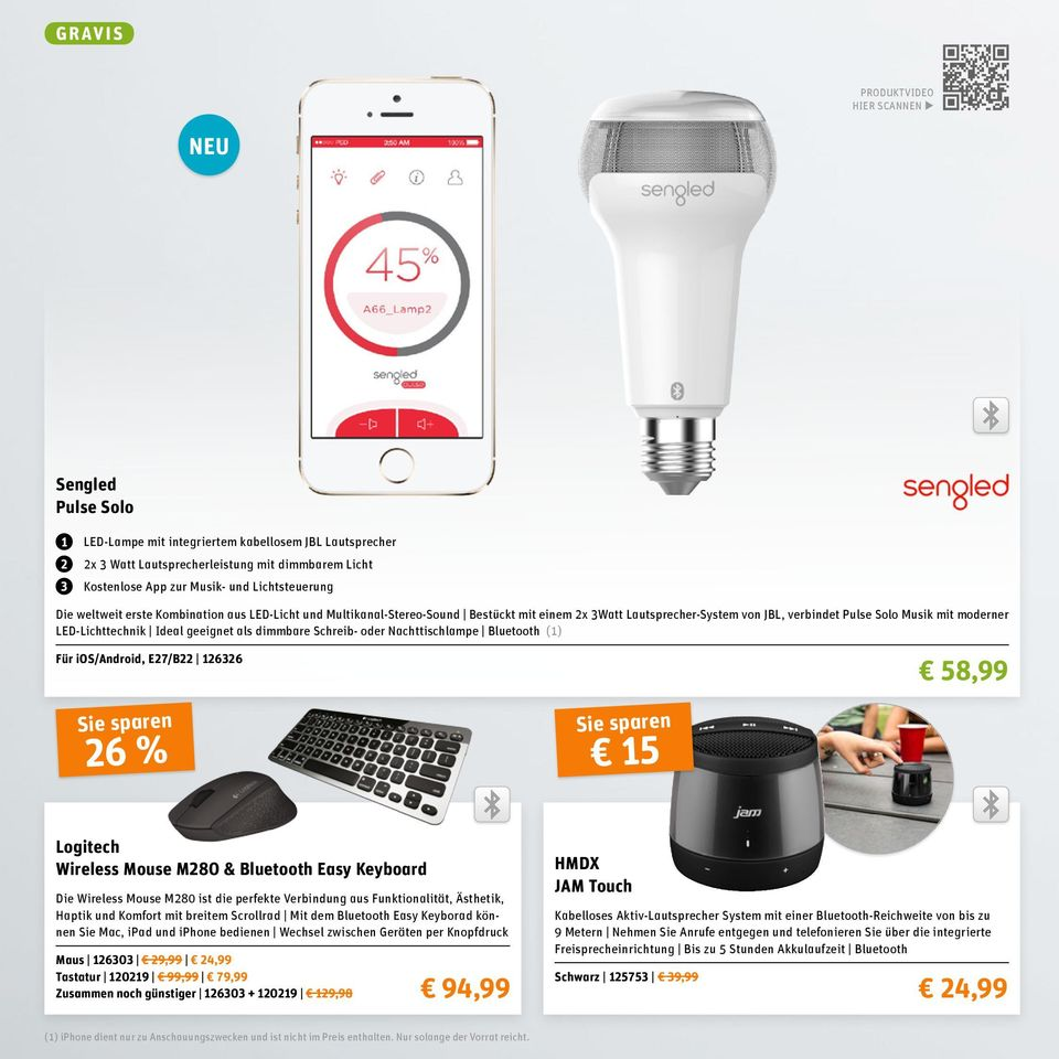 LED-Lichttechnik Ideal geeignet als dimmbare Schreib- oder Nachttischlampe Bluetooth (1) Für ios/android, E27/B22 126326 58,99 26 % 15 Logitech Wireless Mouse M280 & Bluetooth Easy Keyboard Die
