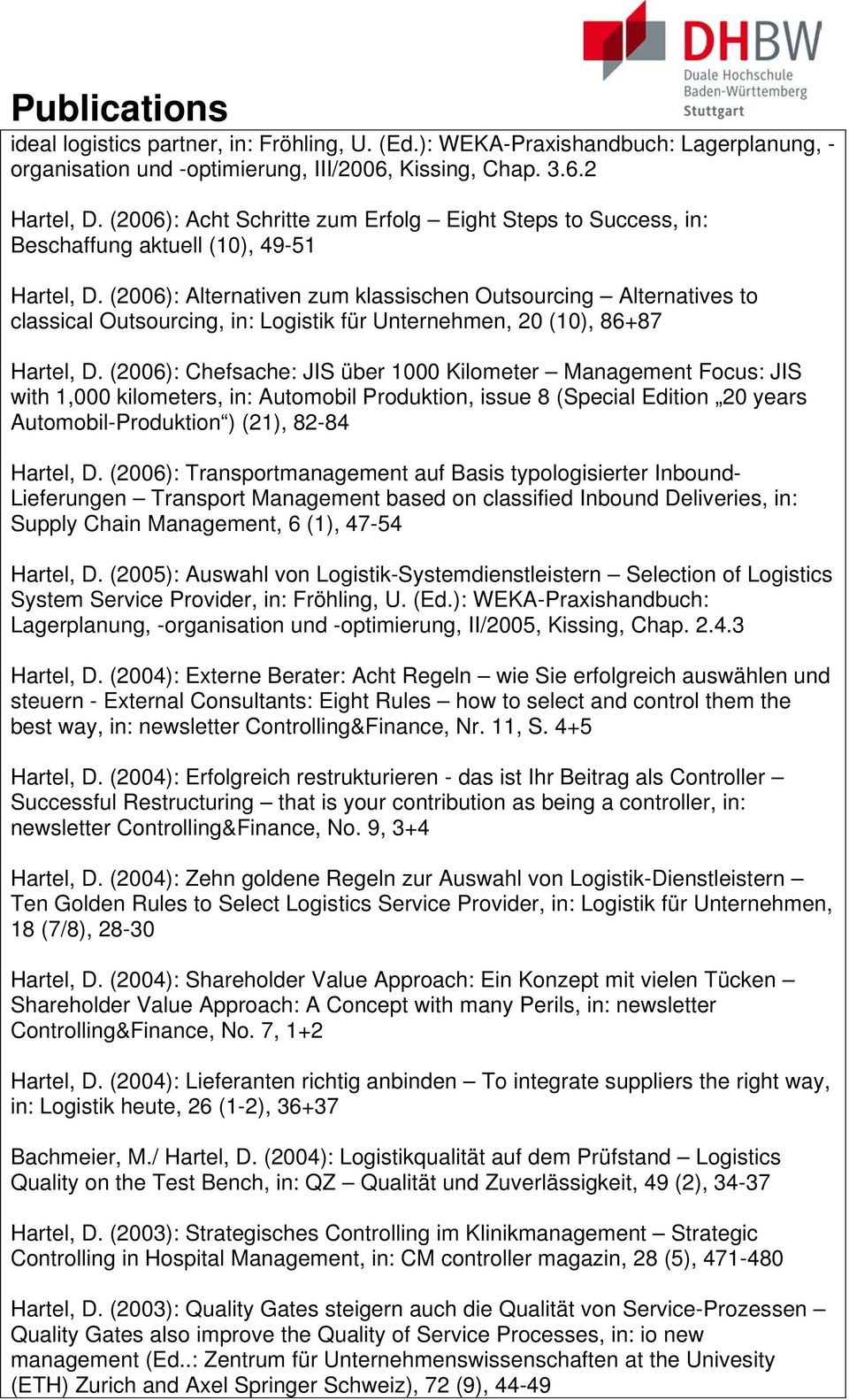(2006): Alternativen zum klassischen Outsourcing Alternatives to classical Outsourcing, in: Logistik für Unternehmen, 20 (10), 86+87 Hartel, D.