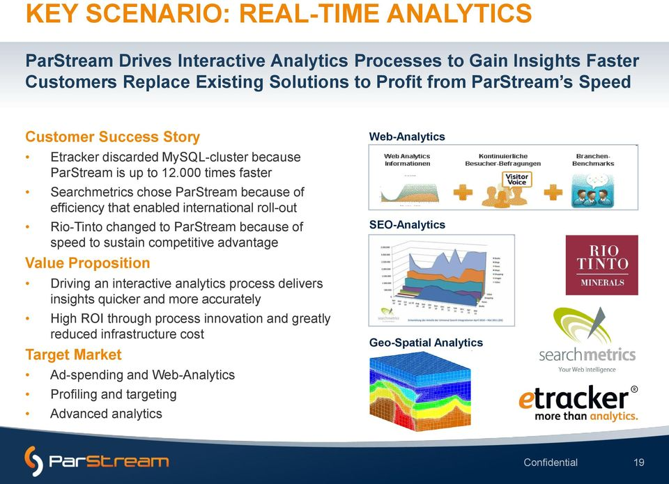000 times faster Searchmetrics chose ParStream because of efficiency that enabled international roll-out Rio-Tinto changed to ParStream because of speed to sustain competitive advantage Value