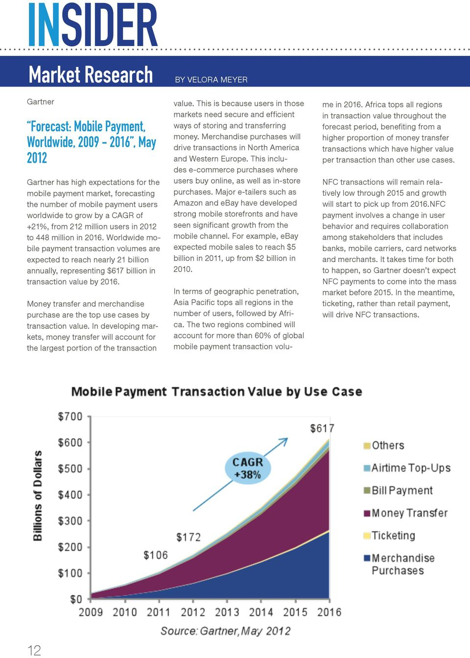 Worldwide mobile payment transaction volumes are expected to reach nearly 21 billion annually, representing $617 billion in transaction value by 2016.