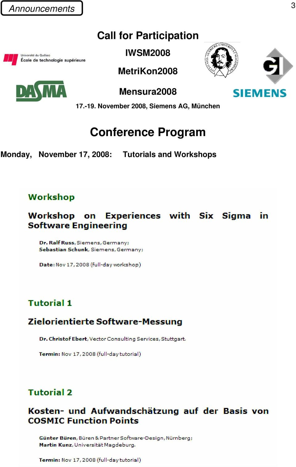 November 2008, Siemens AG, München Conference