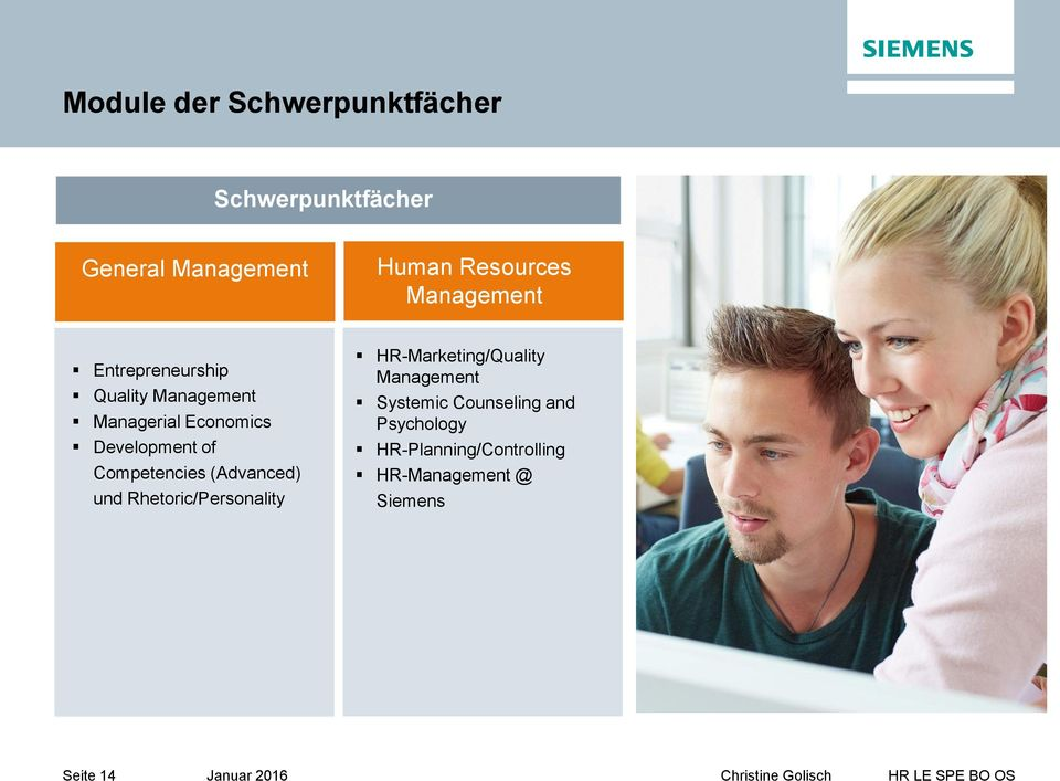 Competencies (Advanced) und Rhetoric/Personality HR-Marketing/Quality Management