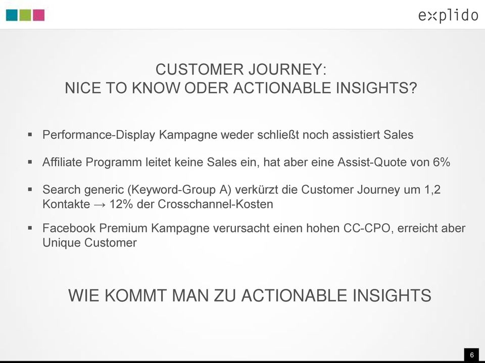 ein, hat aber eine Assist-Quote von 6% Search generic (Keyword-Group A) verkürzt die Customer Journey um