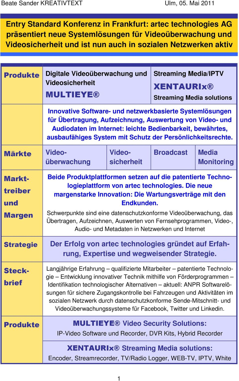 Digitale Videoüberwachung und Videosicherheit MULTIEYE Streaming Media/IPTV XENTAURIx Streaming Media solutions Innovative Software- und netzwerkbasierte Systemlösungen für Übertragung, Aufzeichnung,