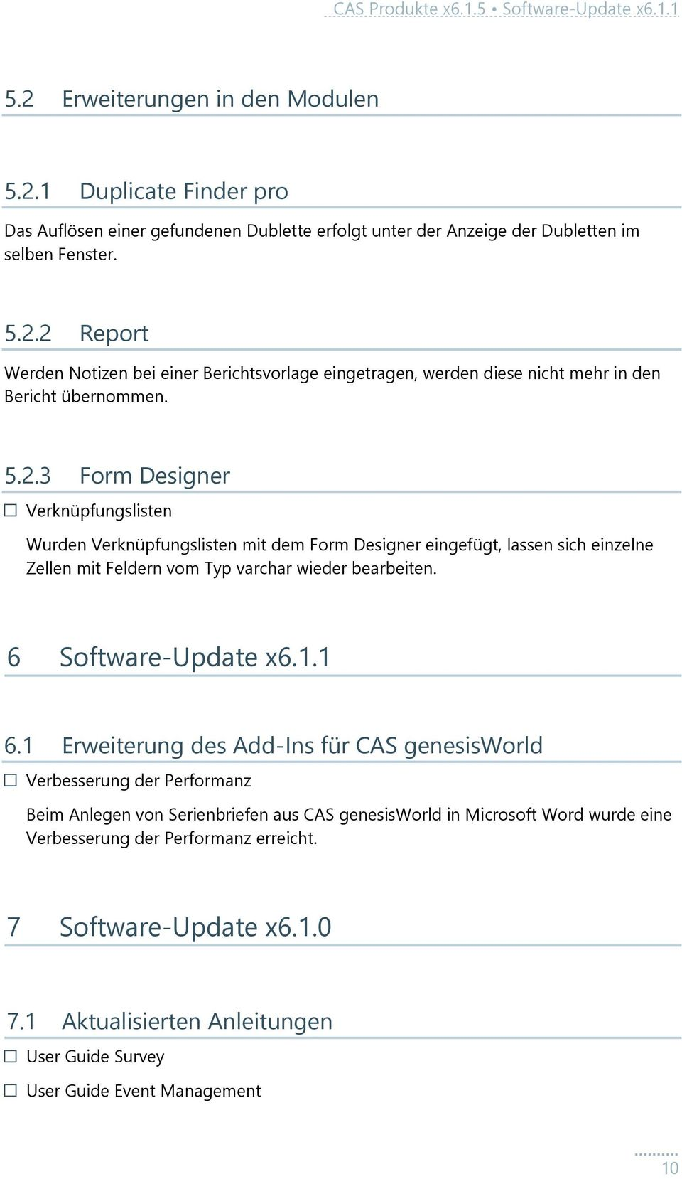 6 Software-Update x6.1.1 6.