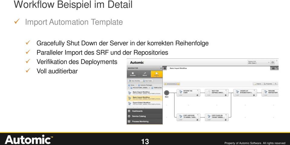 Import des SRF und der Repositories Verifikation des Deployments