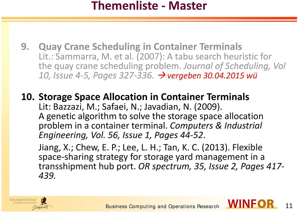 (2009). A genetic algorithm to solve the storage space allocation problem in a container terminal. Computers & Industrial Engineering, Vol. 56, Issue 1, Pages 44 52. Jiang, X.; Chew, E.