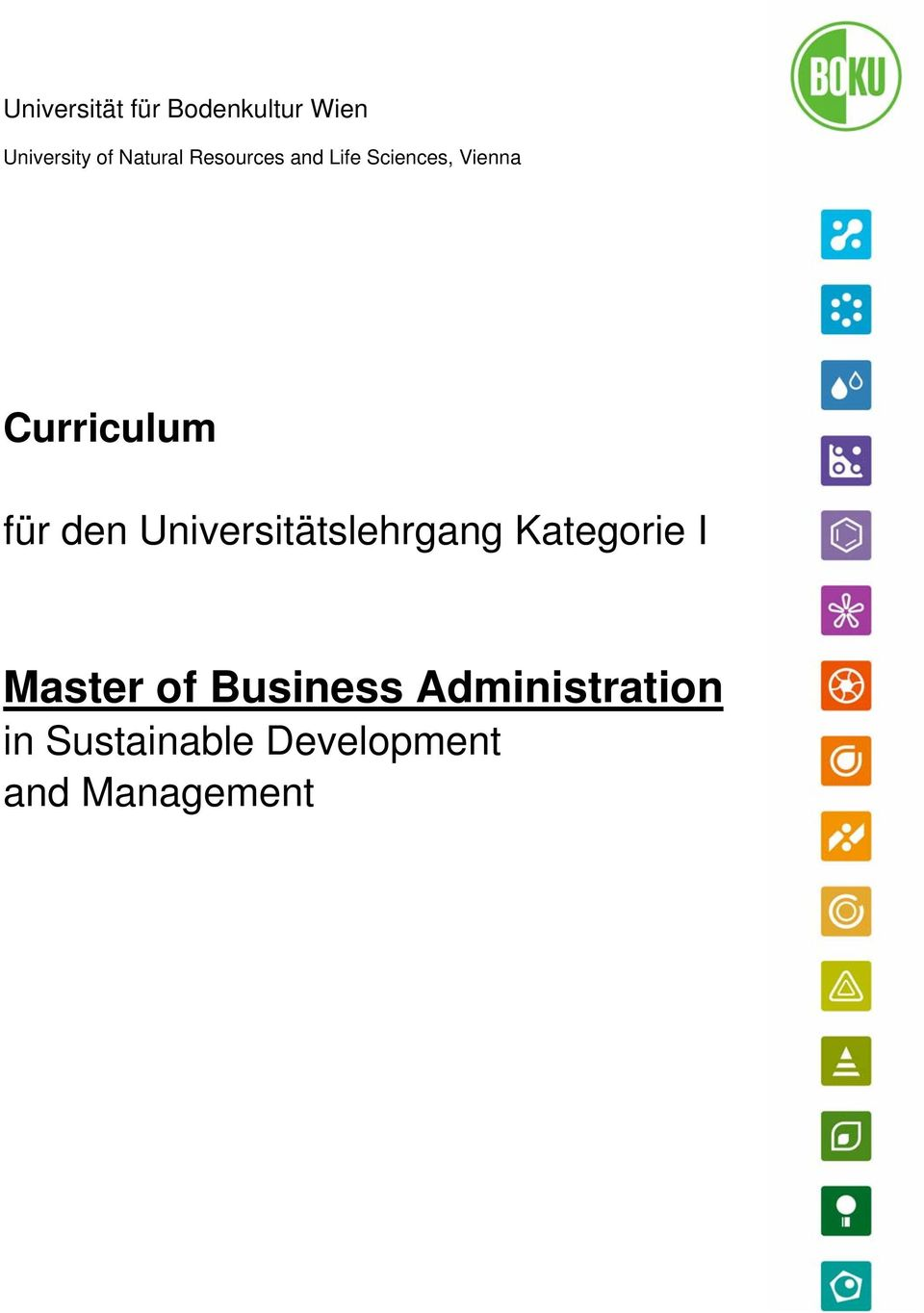 Universitätslehrgang Kategorie I Master of Business
