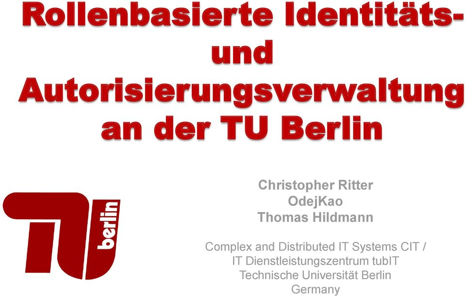 Hildmann Complex and Distributed IT Systems CIT / IT