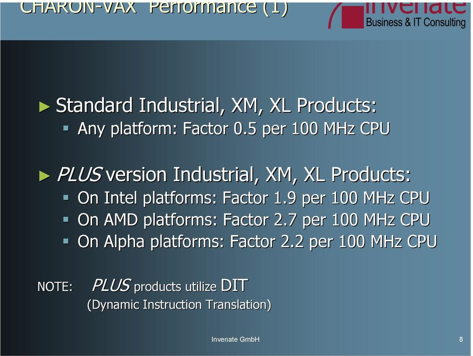 9 per 100 MHz CPU On AMD platforms: Factor 2.7 per 100 MHz CPU On Alpha platforms: Factor 2.