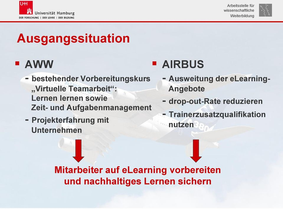 - Ausweitung der elearning- Angebote - drop-out-rate reduzieren -